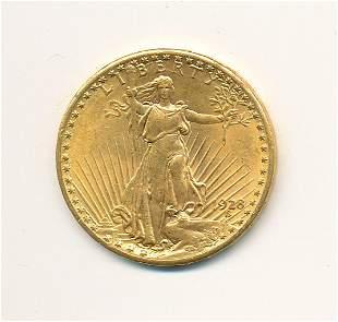 1928 $20 GOLD SAINT GAUDENS  MS64