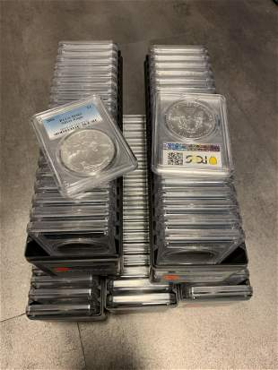 LOT OF (100) 2002 SILVER EAGLES PCGS MS 69