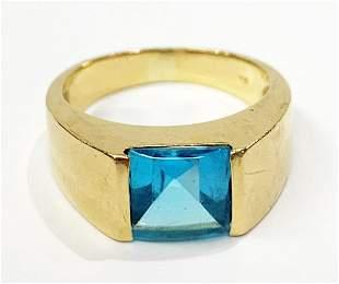 THICK 18K GOLD BLUE TOPAZ RING