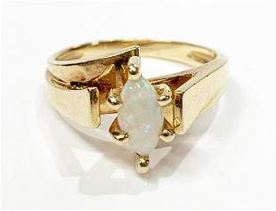 UNIQUE 14K GOLD WHITE OPAL MARQUISE CUT RING