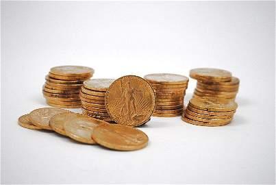 TEN (10) $20 GOLD SAINT GAUDENS AU DETAIL