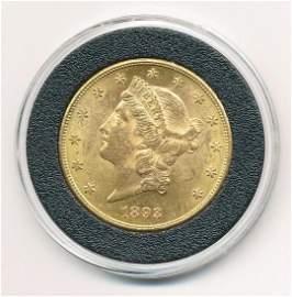 1893-CC CARSON CITY $20 GOLD MS60+