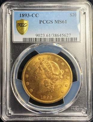 LOT#1 DEC 9. 1893-CC LIB TYPE 2 $20 PCGS MS61