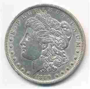 1889-O MORGAN SILVER DOLLAR AU58