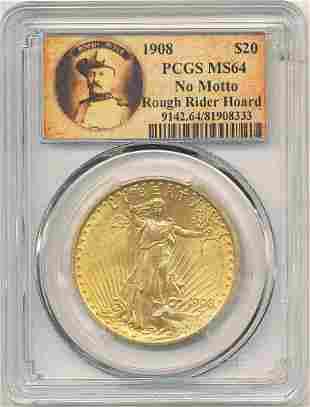1908 $20 GOLD ST GAUDEN ROUGH RIDER PCGS MS64