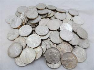 (100) CIRCULATED PEACE SILVER DOLLARS