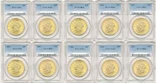 TEN (10) $20 LIBERTY GOLD PCGS MS63