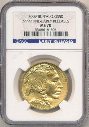 2009 1oz GOLD BUFFALO NGC MS70 EARLY RELEASE