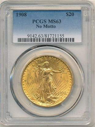1908 NM $20 GOLD SAINT GAUDENS PCGS MS63