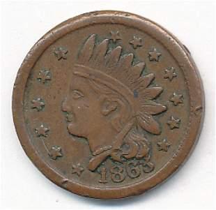 1863 RARE CONFEDERATE 1 CENT AU