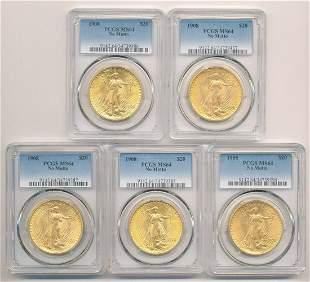 (5) 1908 $20 ST.GAUDENS GOLD PCGS MS64