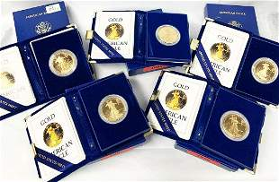 (5) FIRST YEAR 1 OZ PROOF GOLD EAGLE 1986