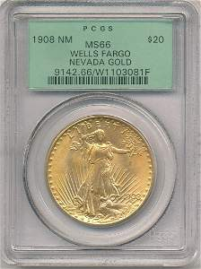 OLD PCGS 1908 NM MS66 $20 GOLD WELLS FARGO