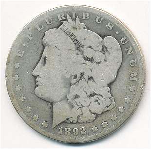 RARE DATE 1892-S AG MORGAN SILVER DOLLAR