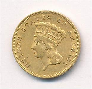 RARE DATE 1856-S $3 GOLD INDIAN PRINCESS AU55