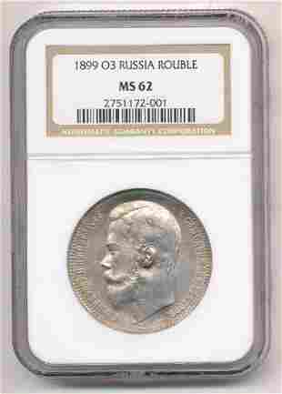 1915 BC RUSSIA ROUBLE NGC MS62