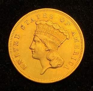 EXTREMELY RARE 1856-S $3 PRINCESS GOLD AU55+