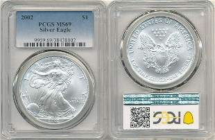 2002 AMERICAN SILVER EAGLE 1 OZ. PCGS MS69