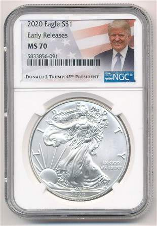 PRESIDENT DONALD J. TRUMP MS70 SILVER EAGLE