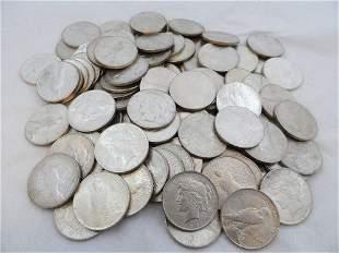 (100) CIRCULATED PEACE SILVER DOLLARS