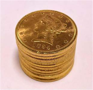 (10) FRESH FROM EUROPE $10 LIBERTY GOLD B.U.