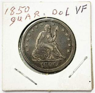 1850 25C SEATED QUARTER VF/XF CONDITION