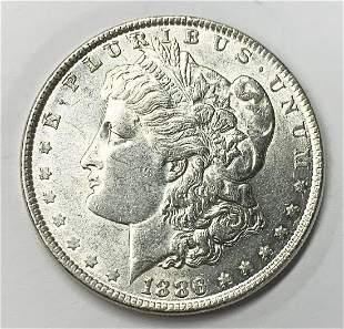 1886 MORGAN SILVER DOLLAR AU55+