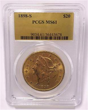 SF MINTED GOLD 1898-S $20 LIBERTY PCGS MS61