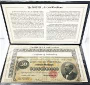 EXTREMELY RARE 1882 GOLD CERTIFICATE