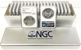 (20) 2002 SILVER EAGLES NGC MS69 CONSECUTIVE # IN BOX
