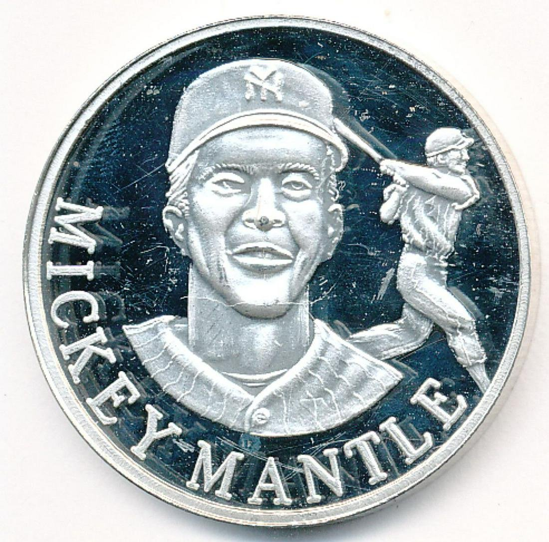 RARE 1 OZ SILVER MICKEY MANTLE NEW ENGLAND MINT