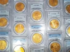 TEN (10) $20 SAINT GAUDENS GOLD PCGS MS65