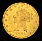 1881 10 LIBERTY GOLD COIN MS63