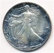 1987 AMERICAN SILVER EAGLE MS69 NICE COLOR