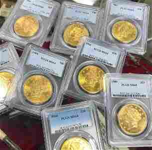 FIVE (5) $20 LIBERTY GOLD PCGS MS64