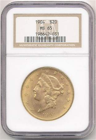 1904 $20 Liberty Gold NGC MS65