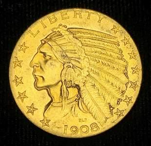 1908 $5 Indian Gold AU58