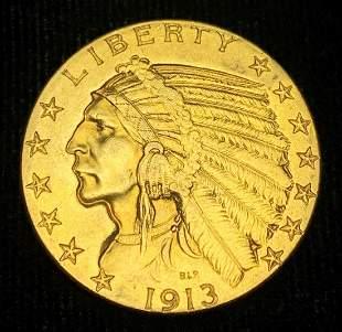 1913 $5 Indian Gold AU58