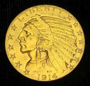 1914-D $5 Indian Gold AU58