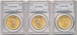 (3) Coin Set St.Gaudens $20 Gold 1922,1923,1924