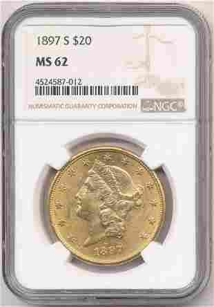 1897-S $20 Liberty Gold NGC MS62