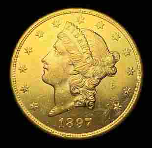 Proof Like $20 Liberty Gold 1897-S MS63 PL