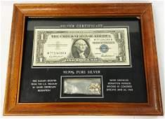 Framed Actual US Treasury Silver Bullion Antique