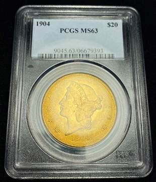 1904 $20 Gold Double Eagle PCGS MS63