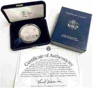 2003 Proof 69 Silver Eagle With Box & Papers US Mint