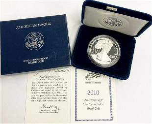 2010 Proof 69 Silver Eagle With Box & Papers US Mint