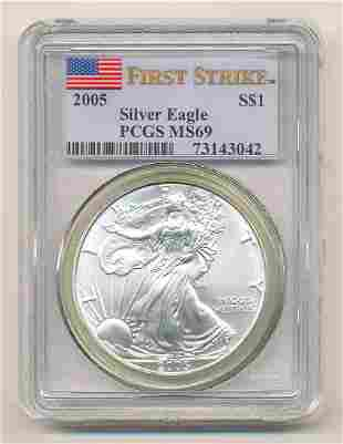 2005 PCGS MS69 First Strike Silver Eagle
