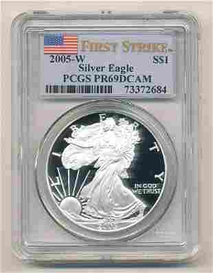Proof 2005 First Strike Silver Eagle PCGS PR69DCAM