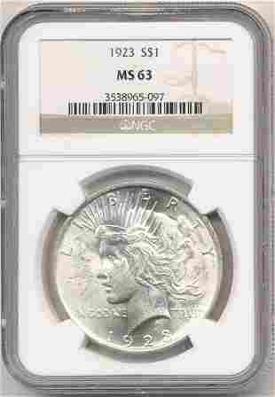 1923 Peace Silver Dollar NGC MS63