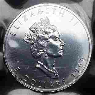 Rare Sealed 1998 .9999 Fine Canadian Silver Maple Leaf